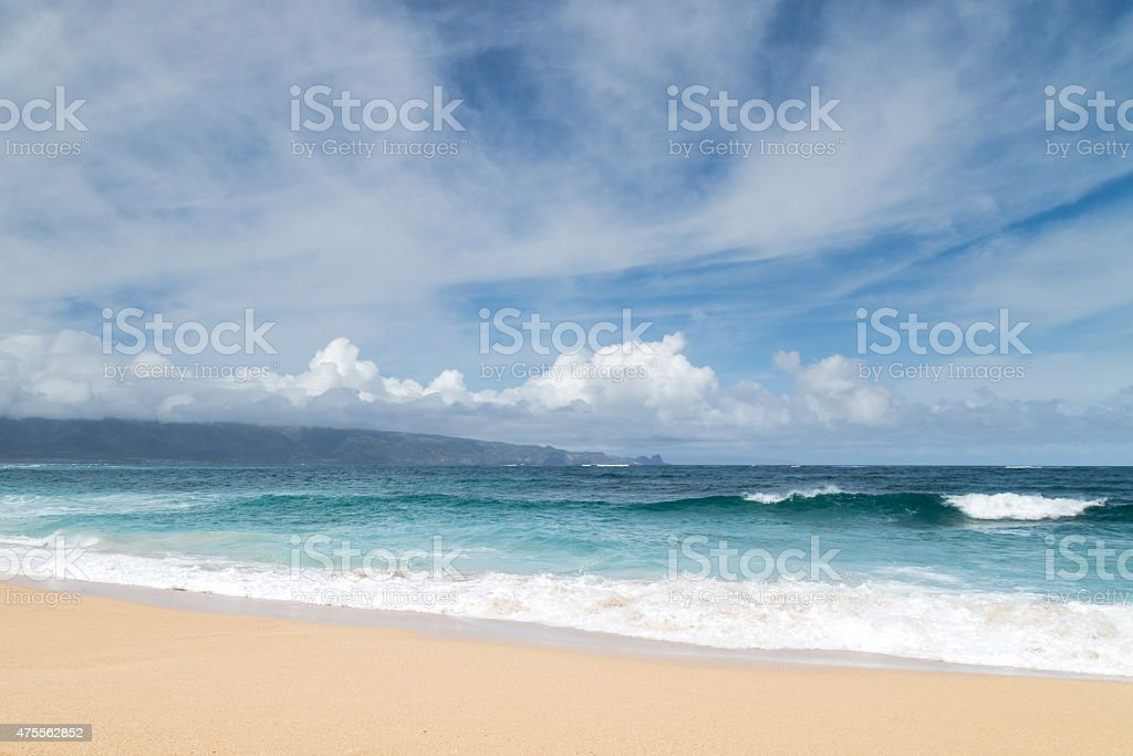 Shades of Blue Beach Shoreline stock photo
