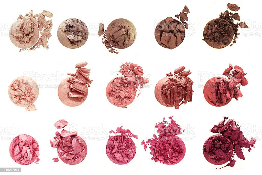 Shades of Rose crushed eyeshadow cosmetics collection stock photo