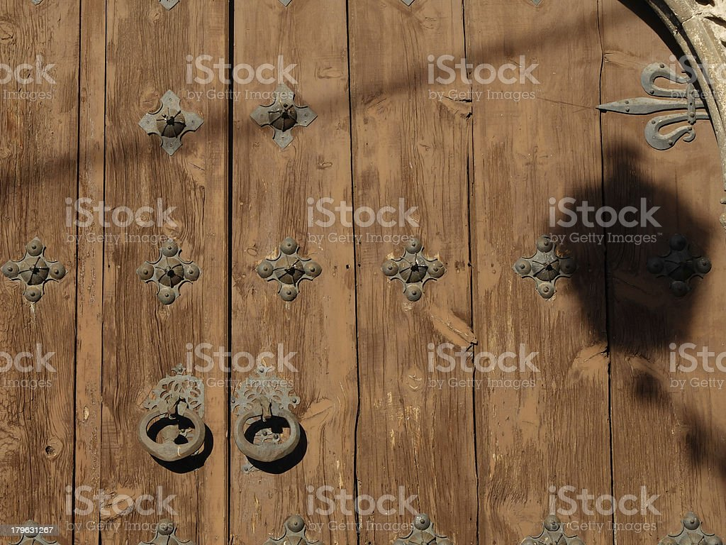Shadow against wooden door royalty-free stock photo