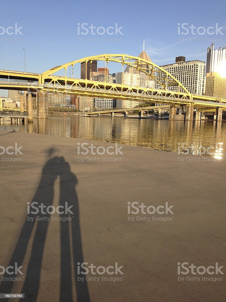 Shadow Couple Photographing Downtown Pittsburgh stock photo