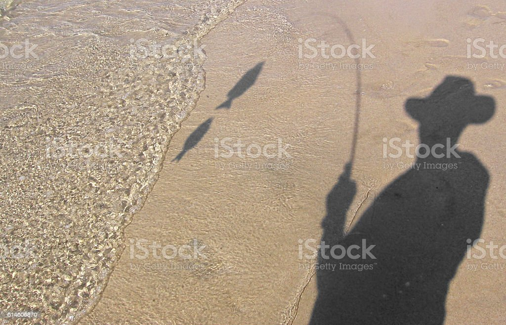 Shadow Fishing royalty-free stock photo