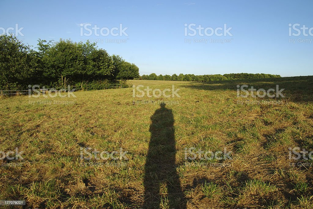 Shadow in the evening sun royalty-free stock photo