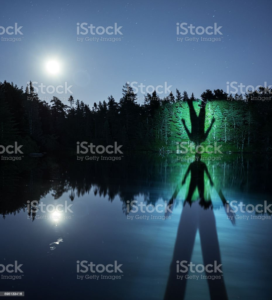 Shadow Lake in Moonlight stock photo
