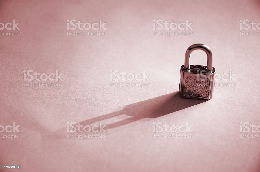 Shadow of a Lock (colourized) royalty-free stock photo