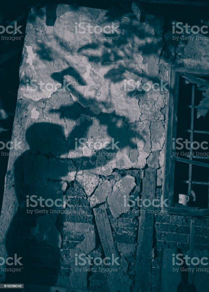 Shadow of a maniac with ax stock photo