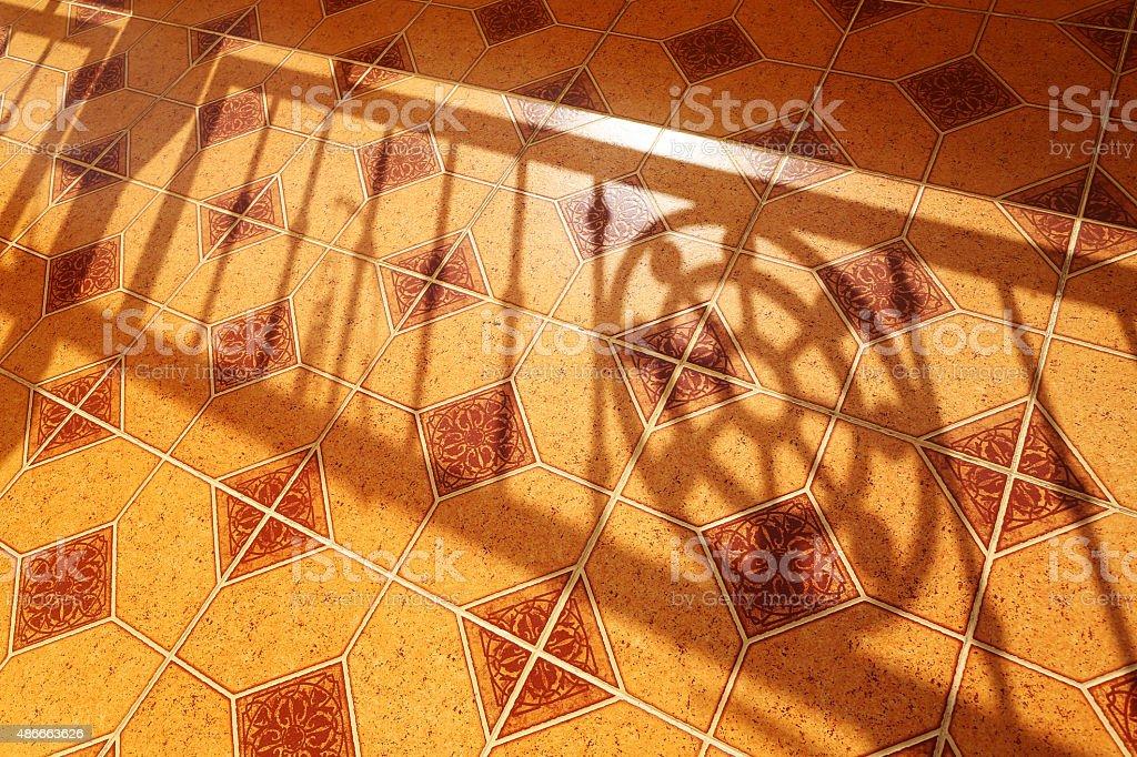 Shadow of Dharmachakra(Wheel of life) stock photo