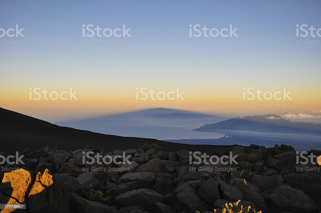 Shadow of Haleakala at sunrise - Maui, Hawaii royalty-free stock photo