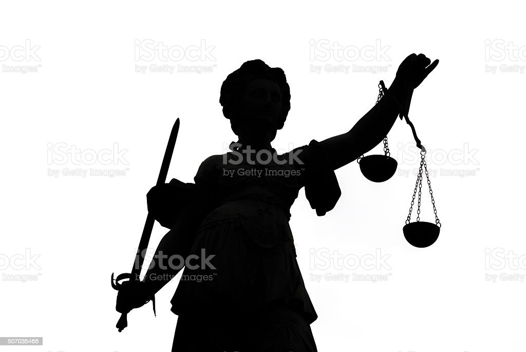 Shadow of Justice Statue stock photo