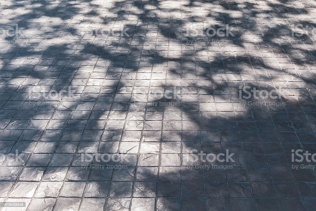 Shadow of leaf tree on brick ground stock photo