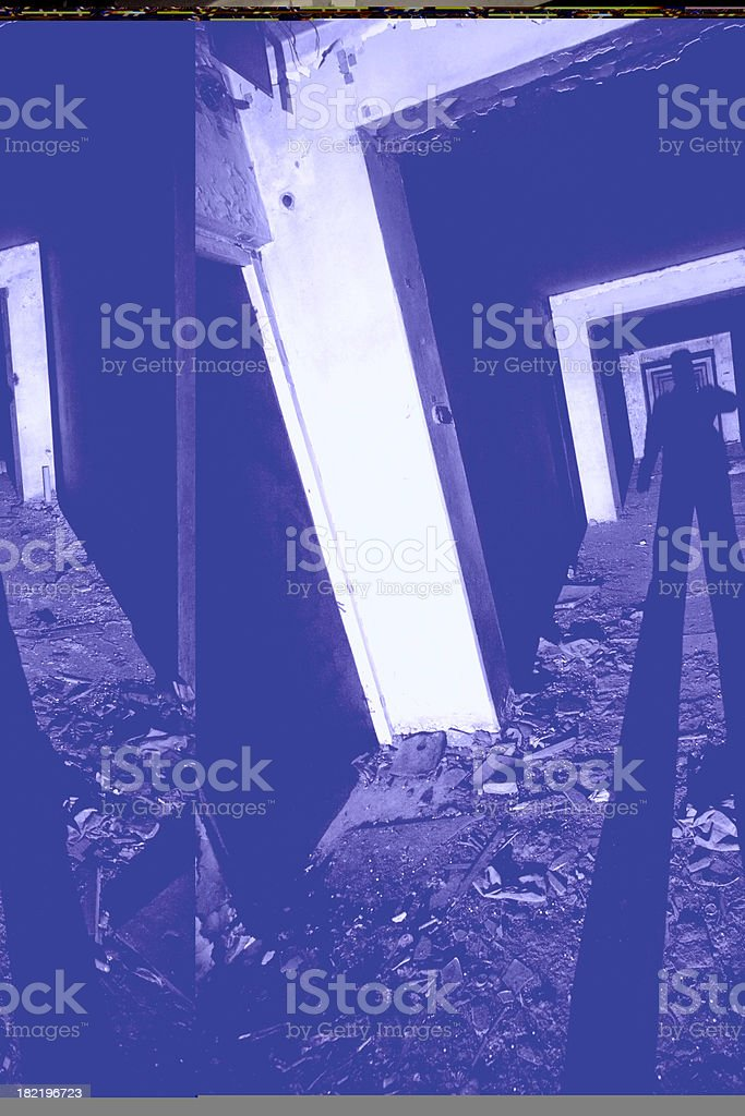 Shadow of man in abandoned building stock photo
