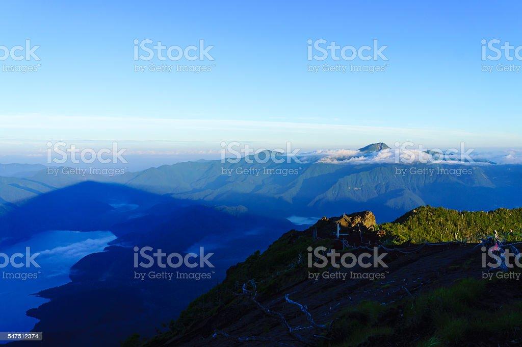 Shadow of Mount Nikko-Nantai in The Early Morning stock photo