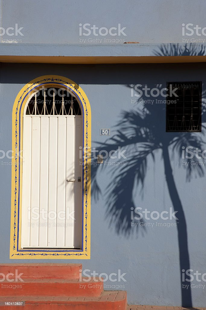 Shadow of Palm Tree on Blue Wall, Arched Door, Mexico royalty-free stock photo