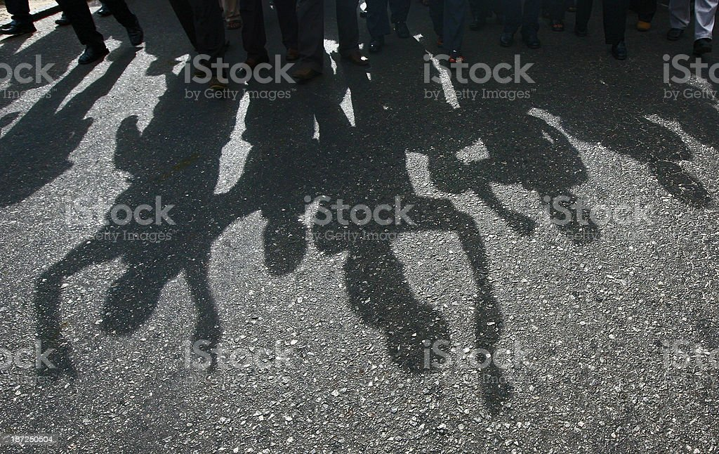 Shadow of Protesters stock photo