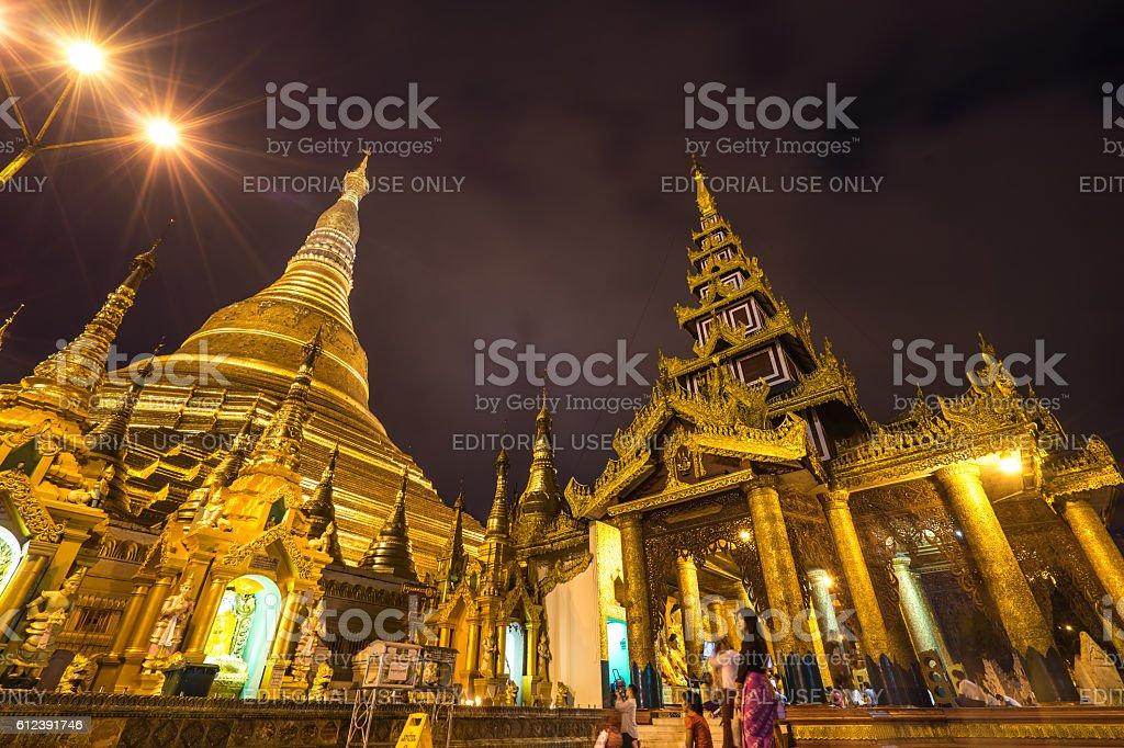 shadow of Shwedagon Pagoda in Yangon,Myanmar stock photo