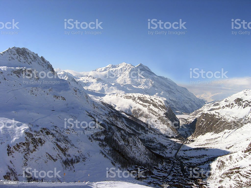 Shadow of the Alps over Val d'Isere France stock photo