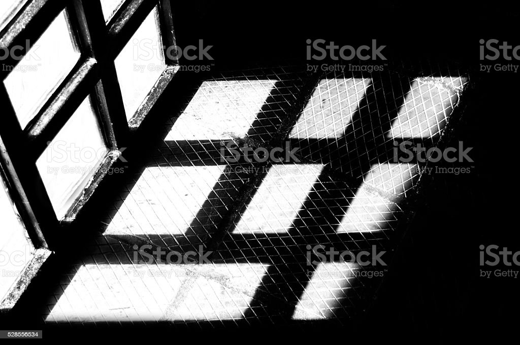 shadow of the door of a glass... stock photo