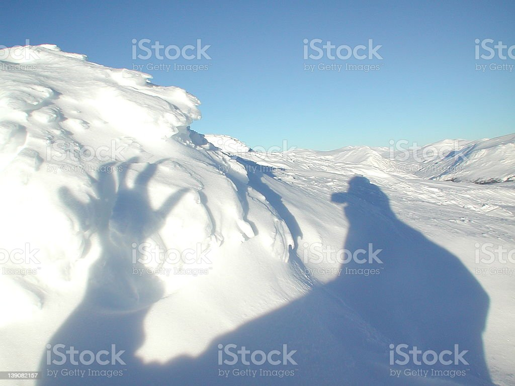 Shadow of yeti stock photo