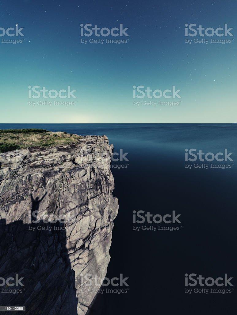 Shadow on the Basalt Shores stock photo