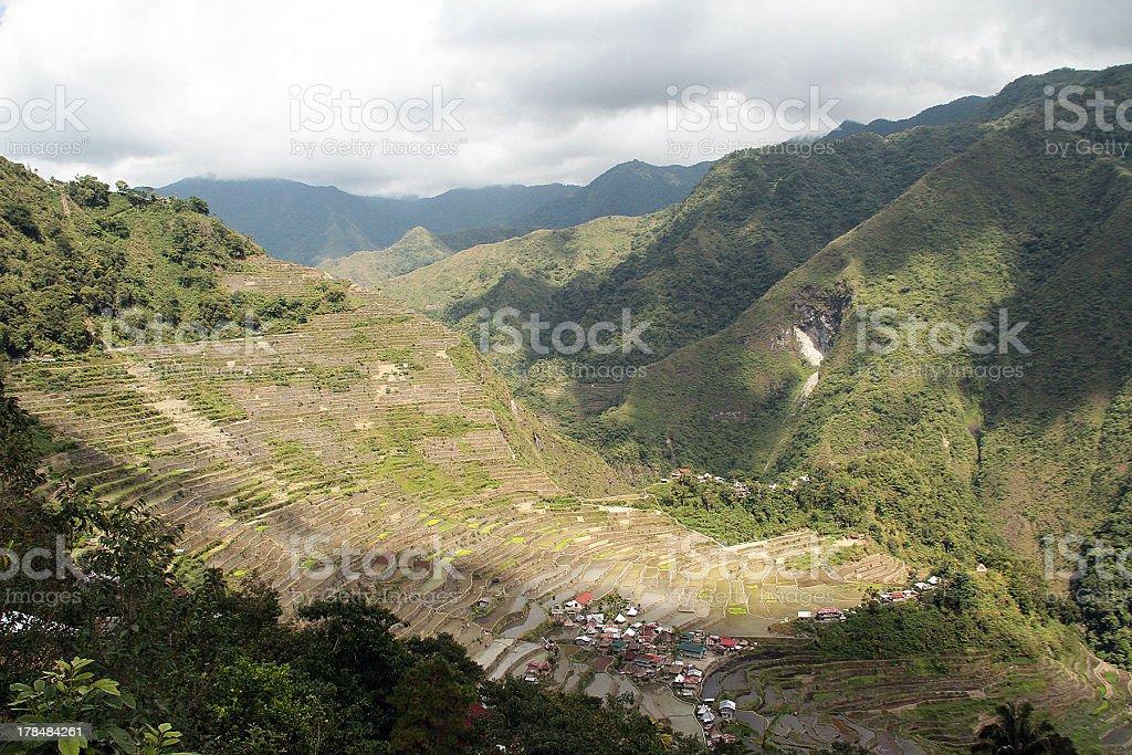 Ombra sul villaggio di Batad Rice Terrace foto stock royalty-free