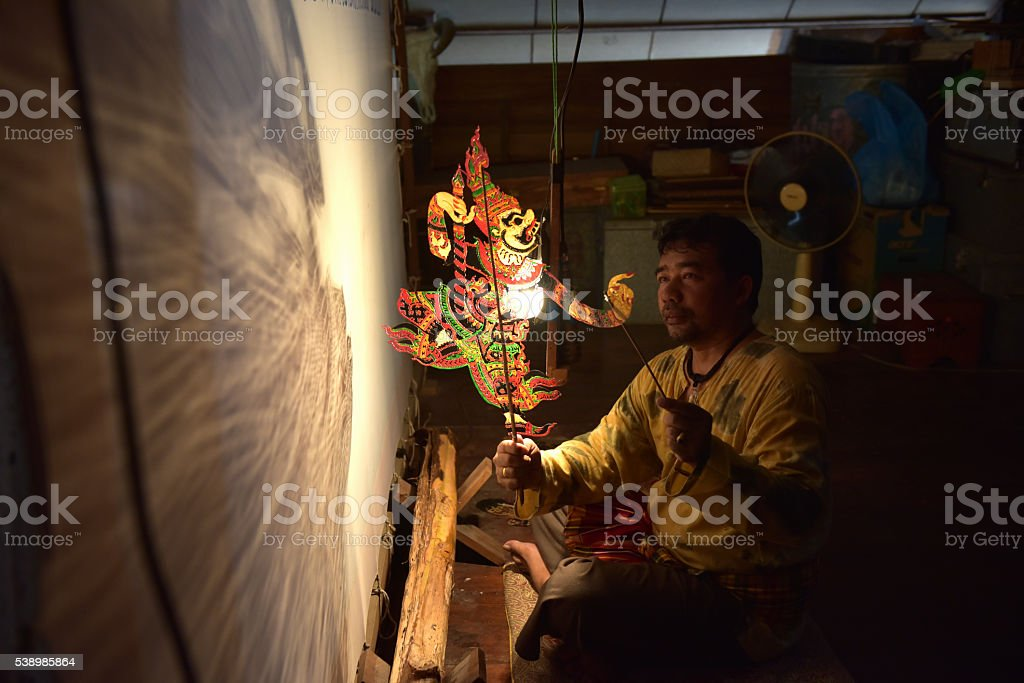 shadow puppet (Thai nane: Nang Talung) stock photo