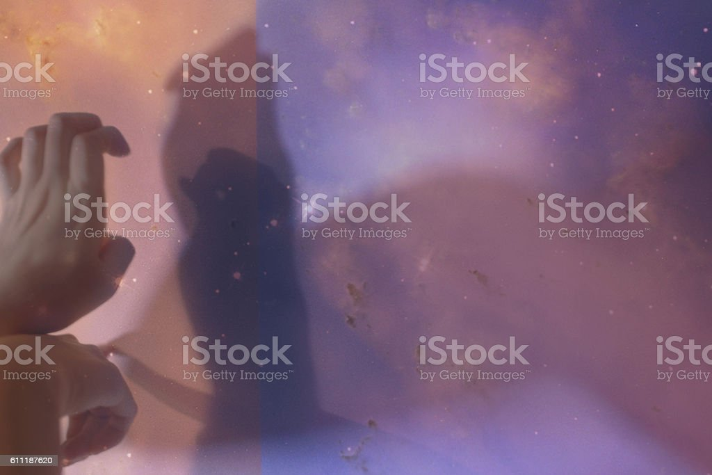 shadow puppets on space stock photo