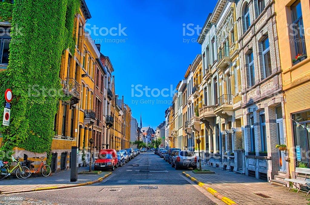 Shadow street in Antwerp, Belgium, Benelux, HDR stock photo
