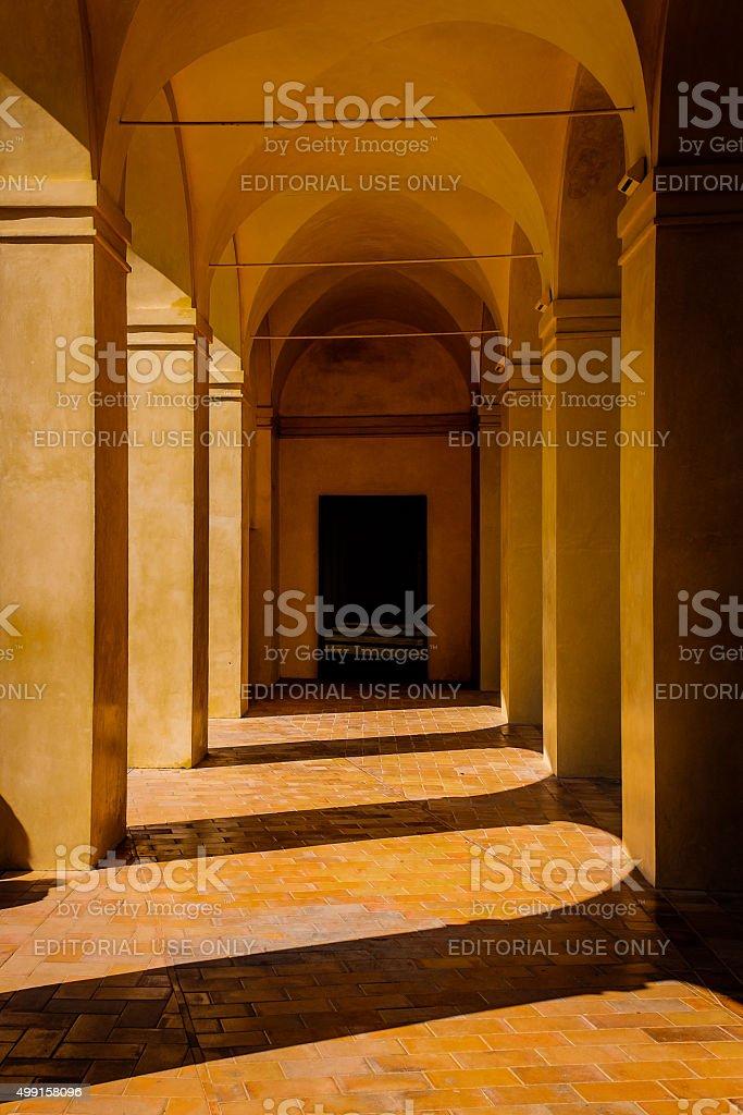 Shadows across a Corridor at the Alcazar of Seville stock photo