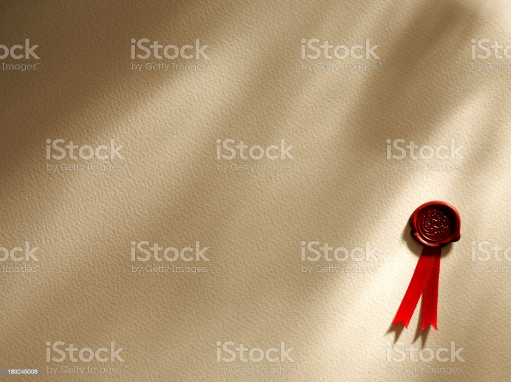 Shadows and a Red Seal of Approval stock photo