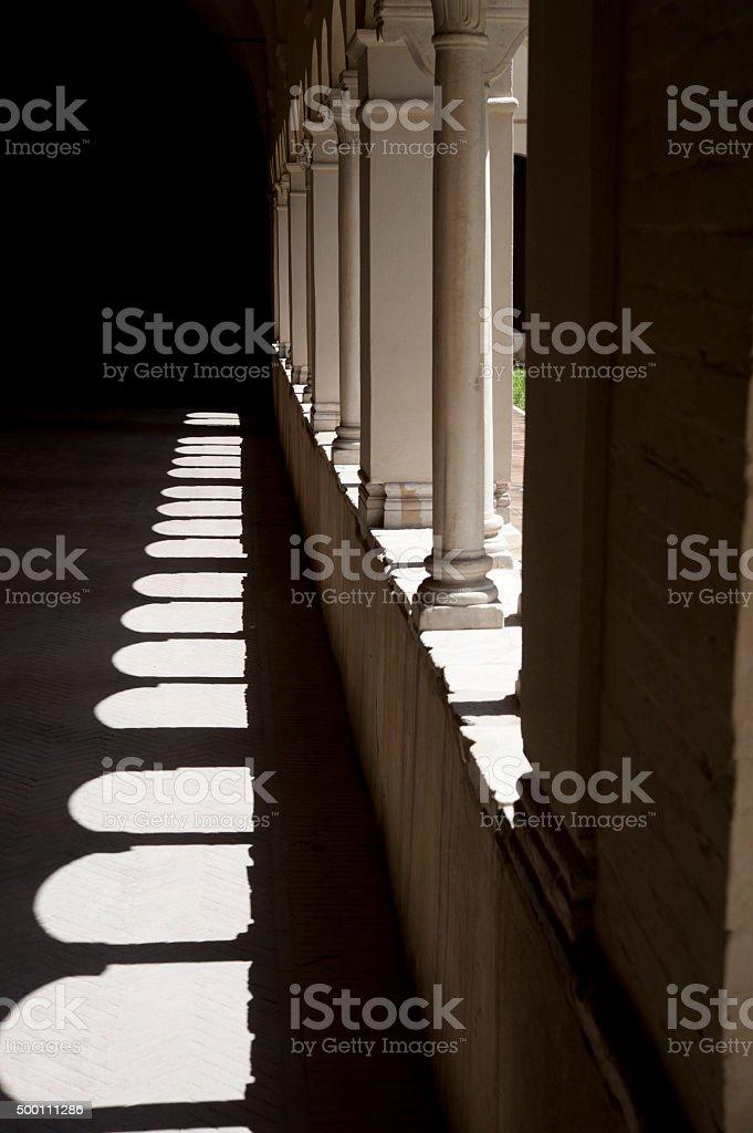 Shadows and arches,Basilica Ss Bonifacio E Alessio, London. UK. stock photo