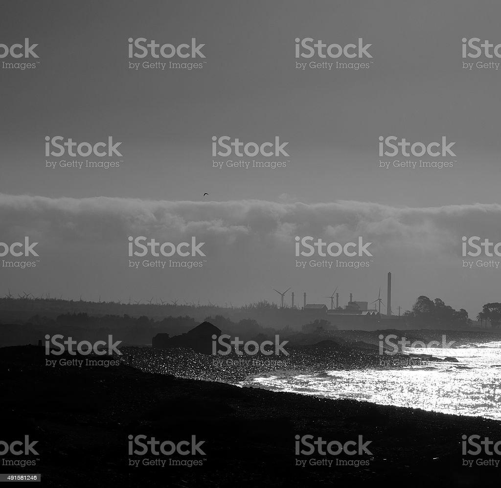 Shadows and contrasts at dawn, coast of Gran canaria stock photo