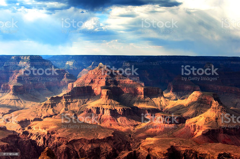 Shadows and Light in South Rim, Grand Canyon National Park stock photo