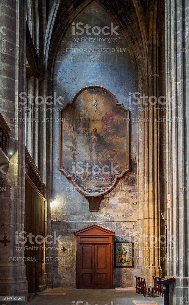 Shadows and lights on a wall inside Narbonne's cathedral stock photo