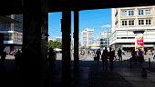 shadows at Berlin Alexanderplatz - people under bridge