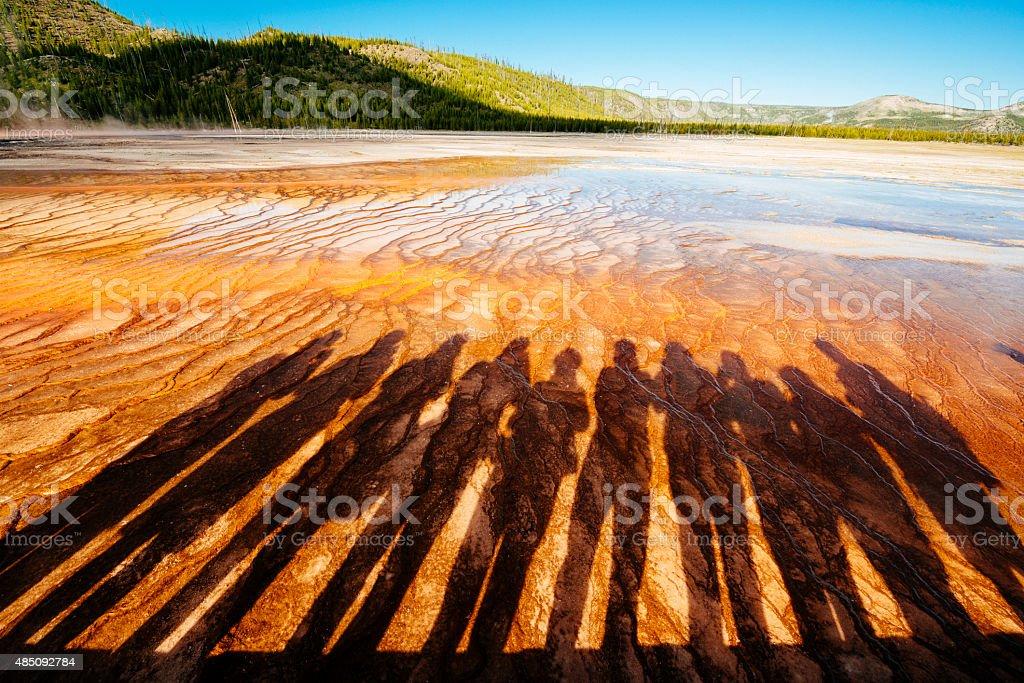 Shadows at Grand Prismatic Lake stock photo