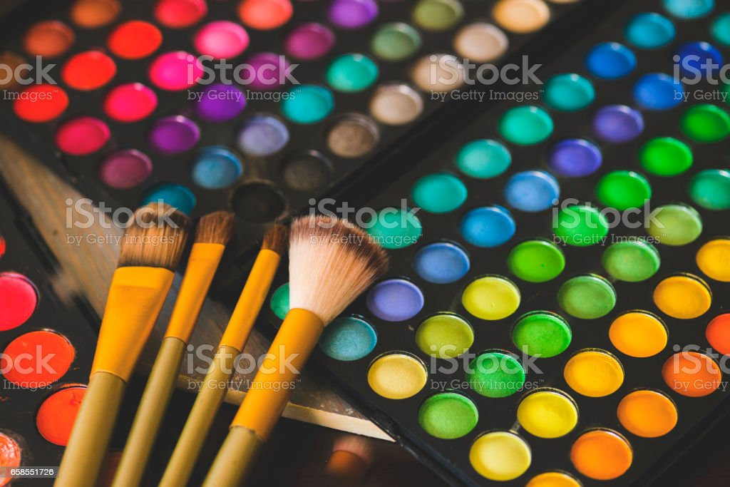 Shadows for eyes, a bright make-up stock photo