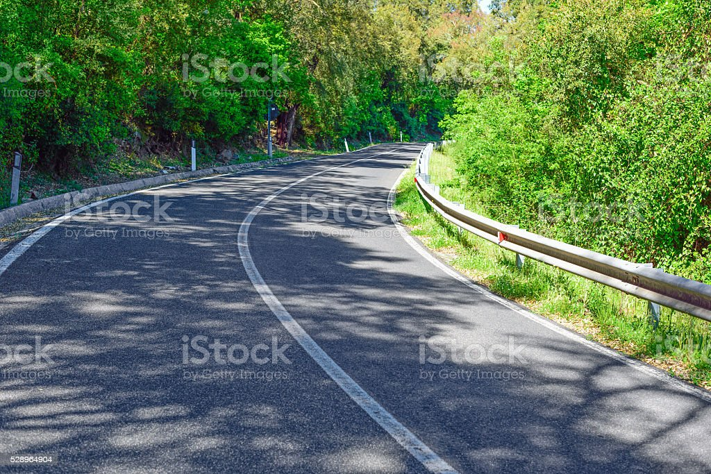 shadows in a country road in Sardinia stock photo