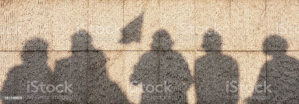 Shadows of a protest royalty-free stock photo