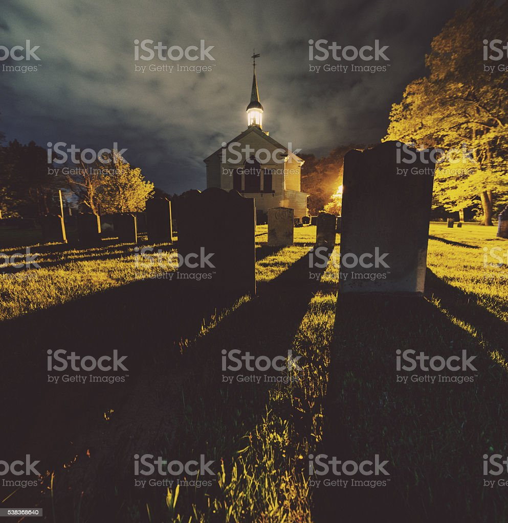 Shadows of Headstones stock photo