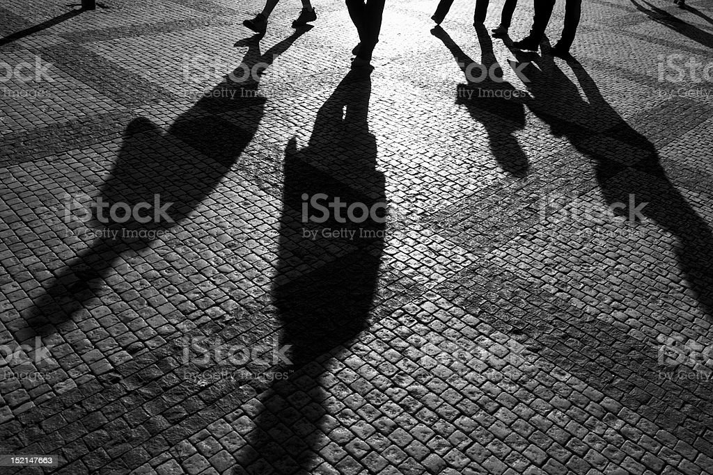 Shadows of people royalty-free stock photo