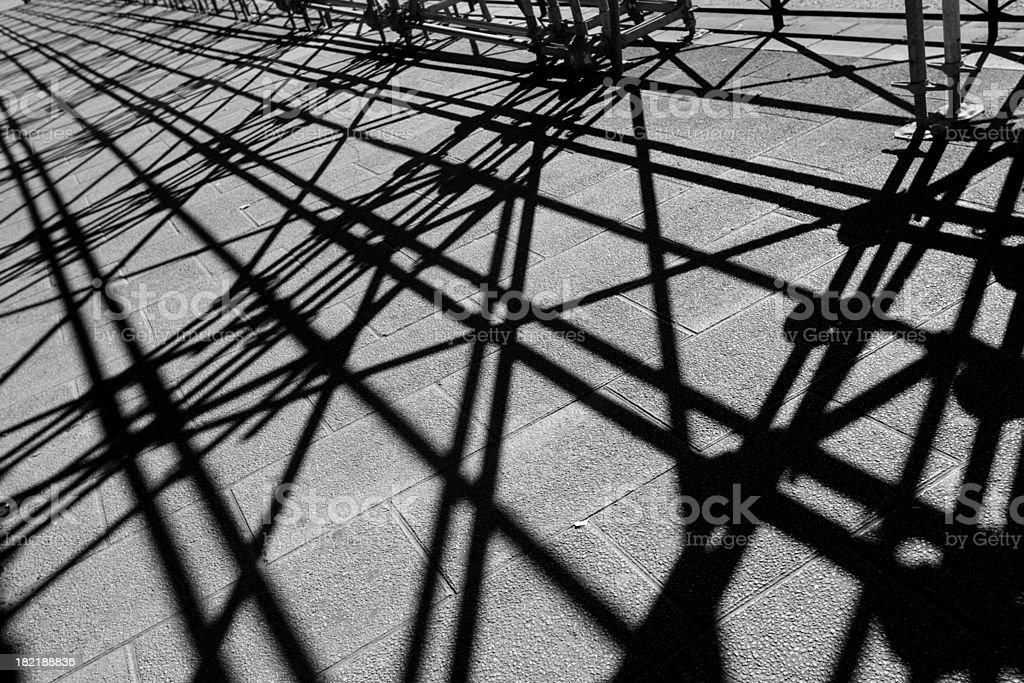 shadows of scaffolding stock photo