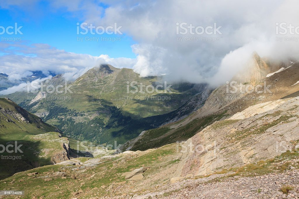 Shadows of the mountains of the Pyrenees stock photo