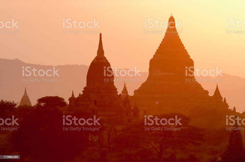 Shadows of the temples of Bagan in sunset royalty-free stock photo