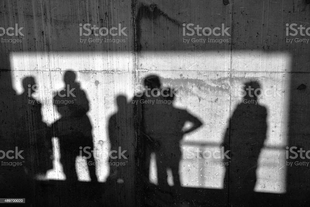 Shadows On The Concrete Wall stock photo