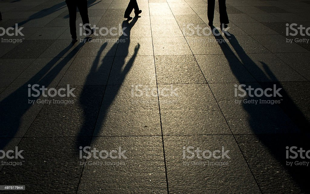Shadows on the Pavement stock photo