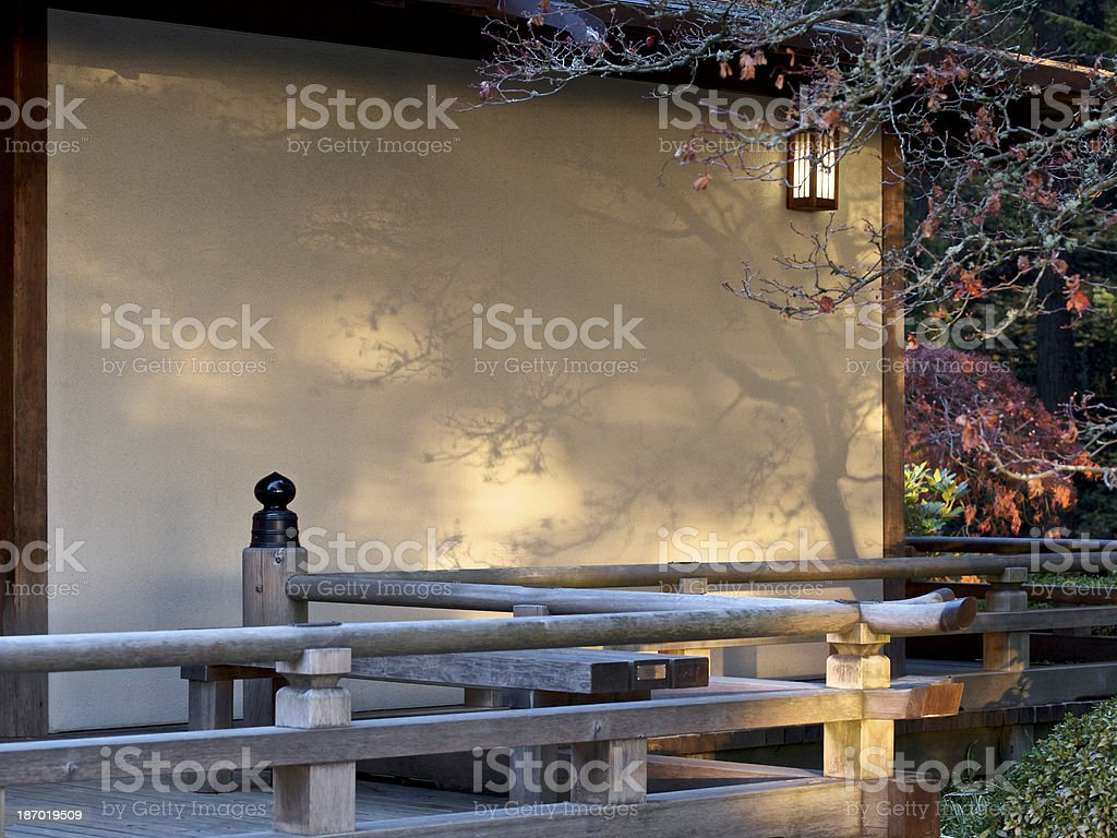 Shadows on Wall Autumn Colors Japanese Garden Portland Oregon royalty-free stock photo