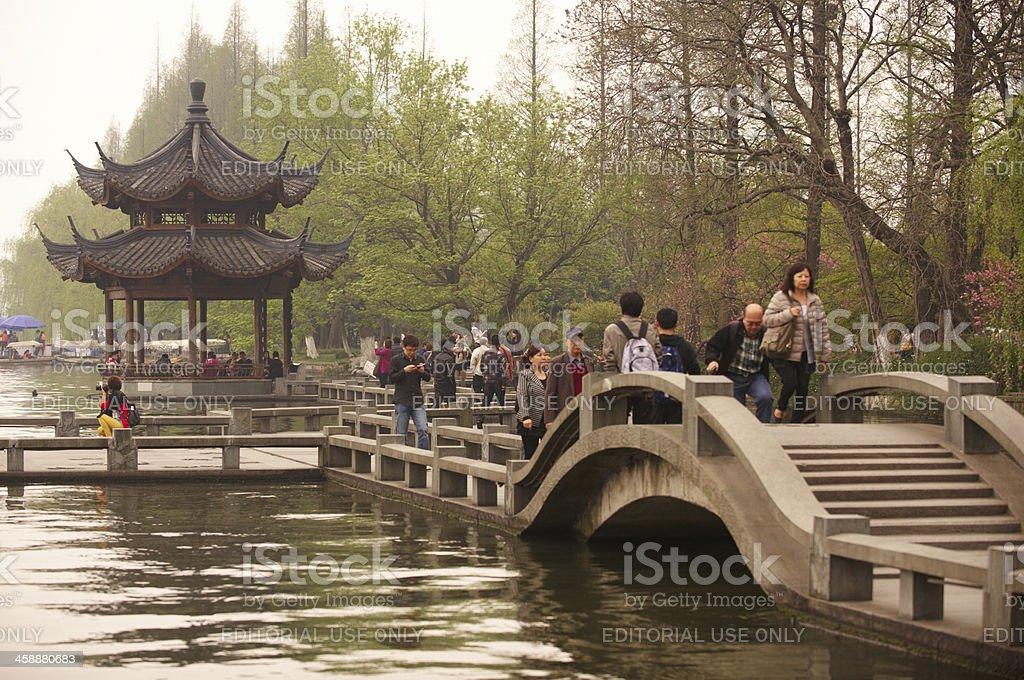 shady bower  on lake Xi hu stock photo