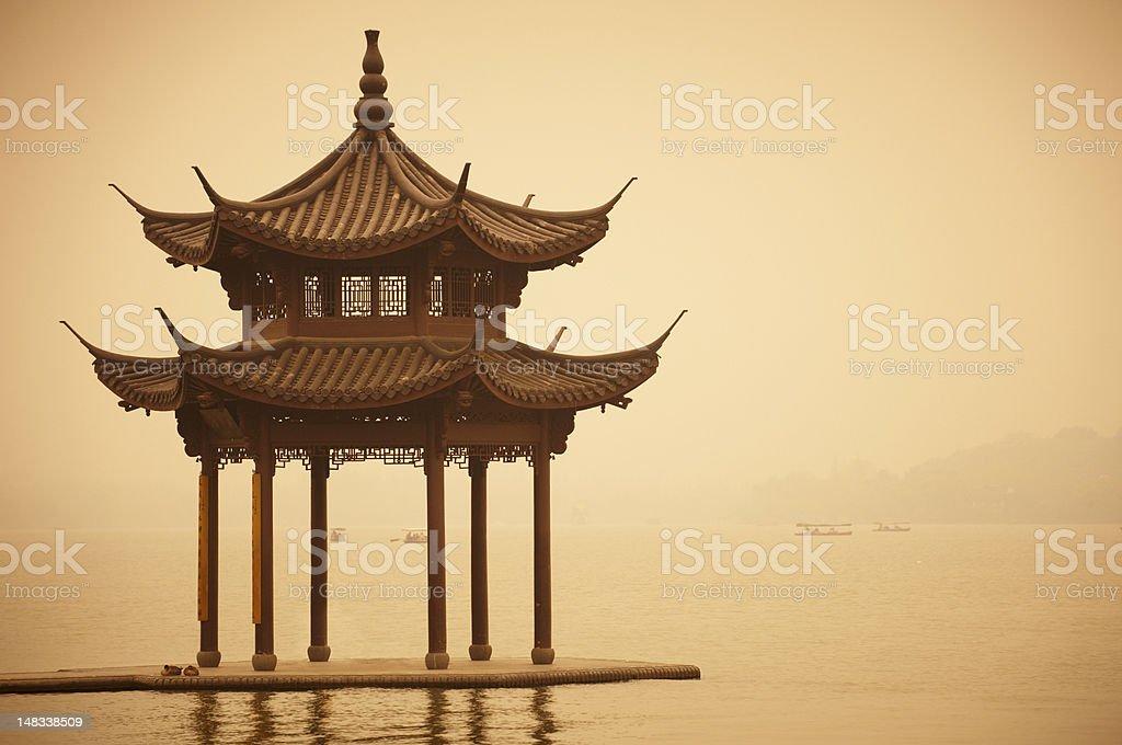 shady bower  on lake Xihu stock photo
