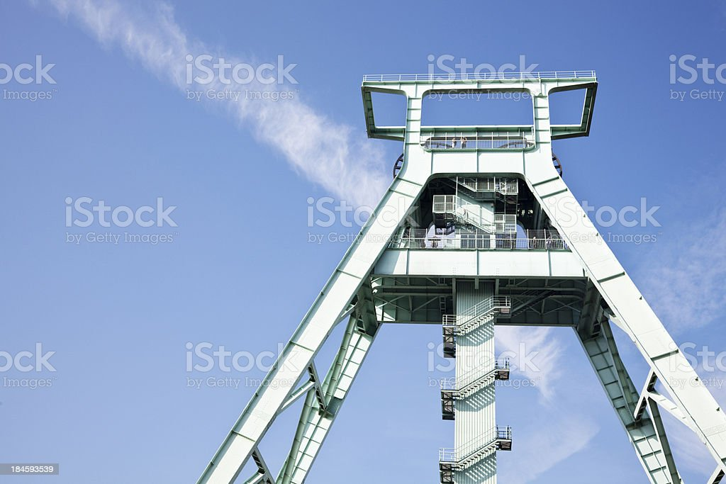 shaft tower of former coal mine stock photo