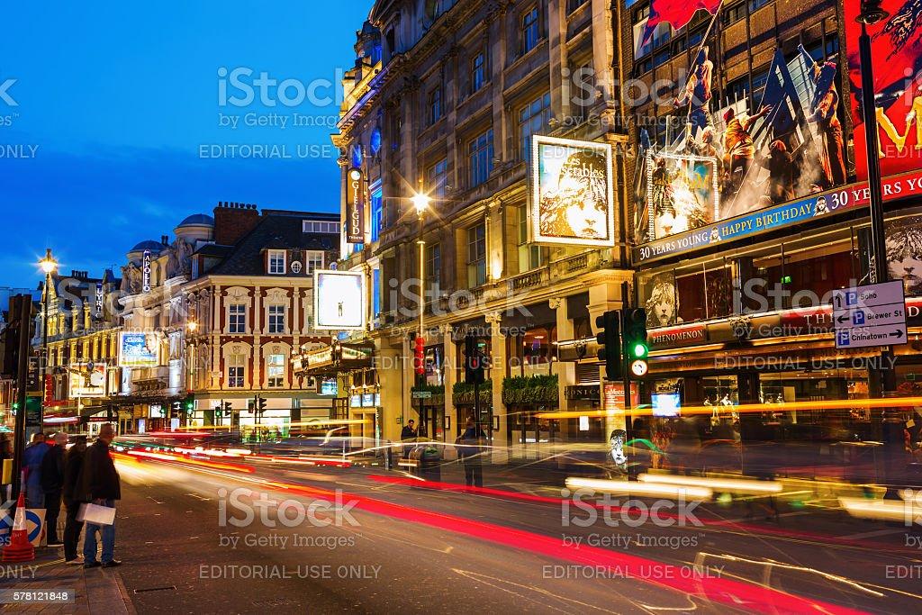 Shaftesbury Avenue in London, UK, at night stock photo
