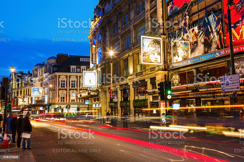 Shaftesbury Avenue in London, UK, at night stock photo